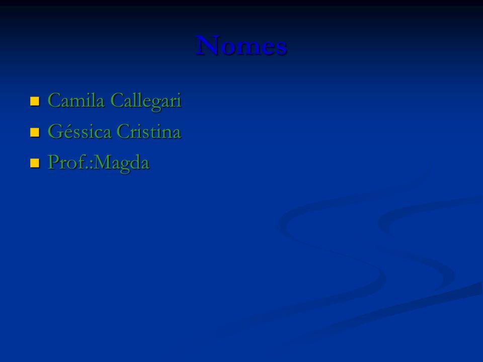 Nomes Camila Callegari Géssica Cristina Prof.:Magda