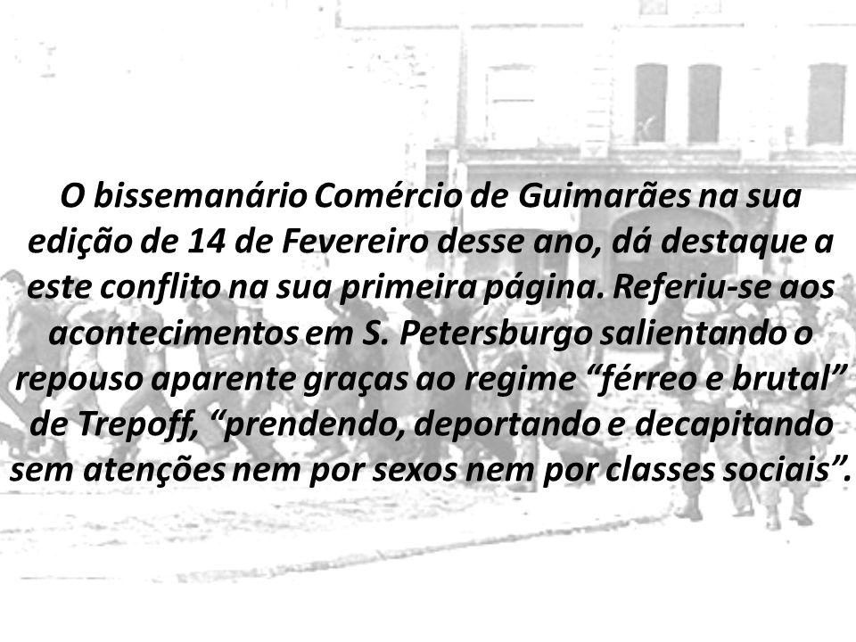 O bissemanário Comércio de Guimarães na sua edição de 14 de Fevereiro desse ano, dá destaque a este conflito na sua primeira página.