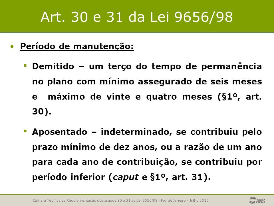Art. 30 e 31 da Lei 9656/98 Período de manutenção:
