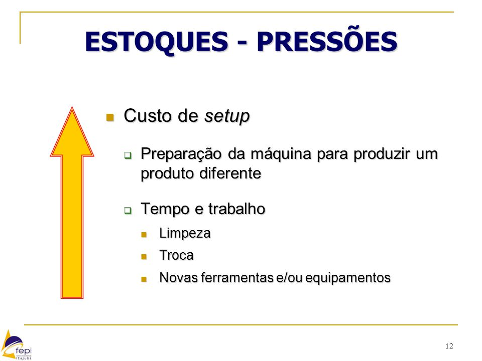 ESTOQUES - PRESSÕES Custo de setup