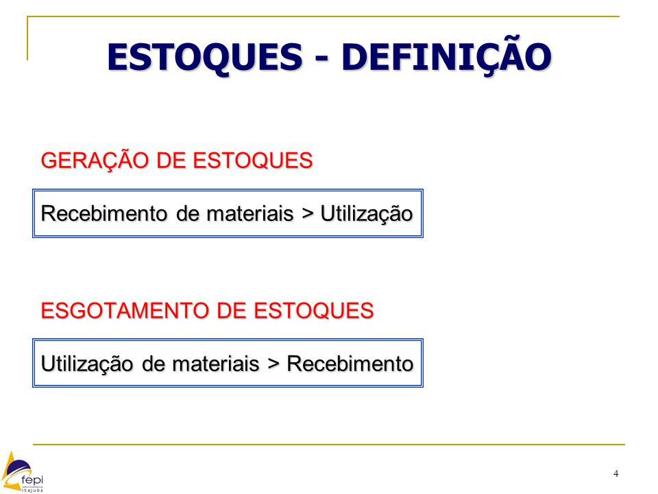 ESTOQUES - DEFINIÇÃO GERAÇÃO DE ESTOQUES