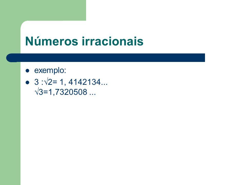 Números irracionais exemplo: 3 :√2= 1, 4142134... √3=1,7320508 ...