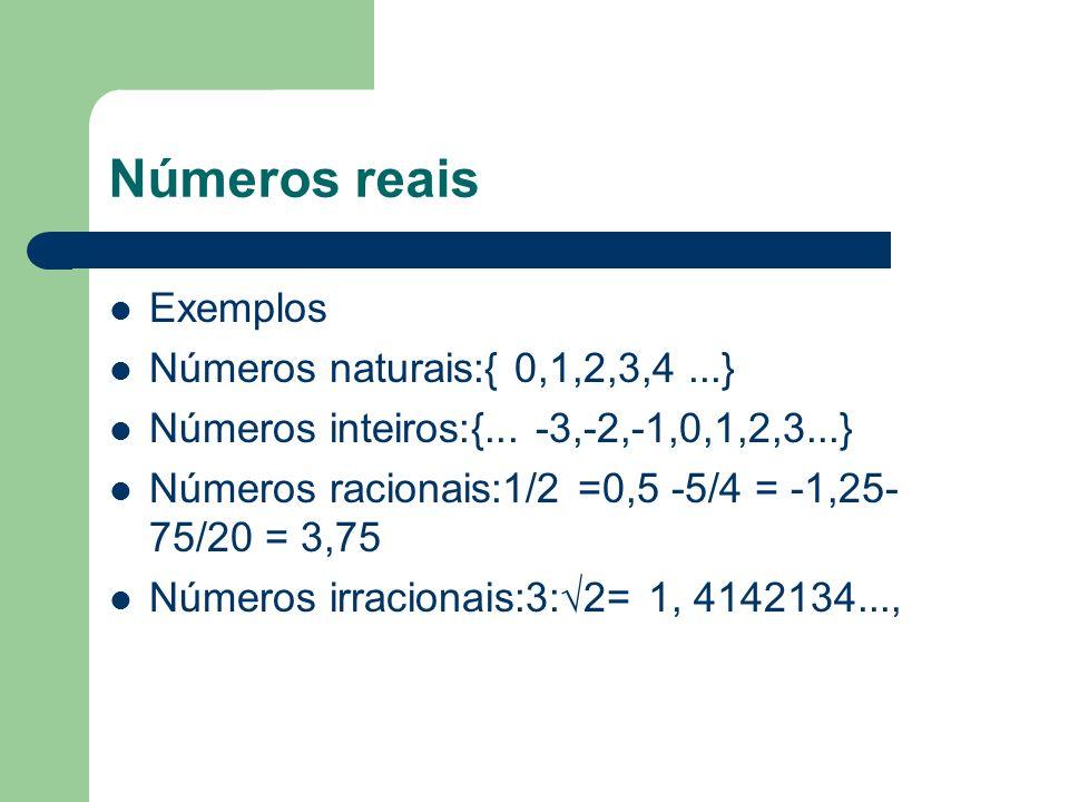 Números reais Exemplos Números naturais:{ 0,1,2,3,4 ...}