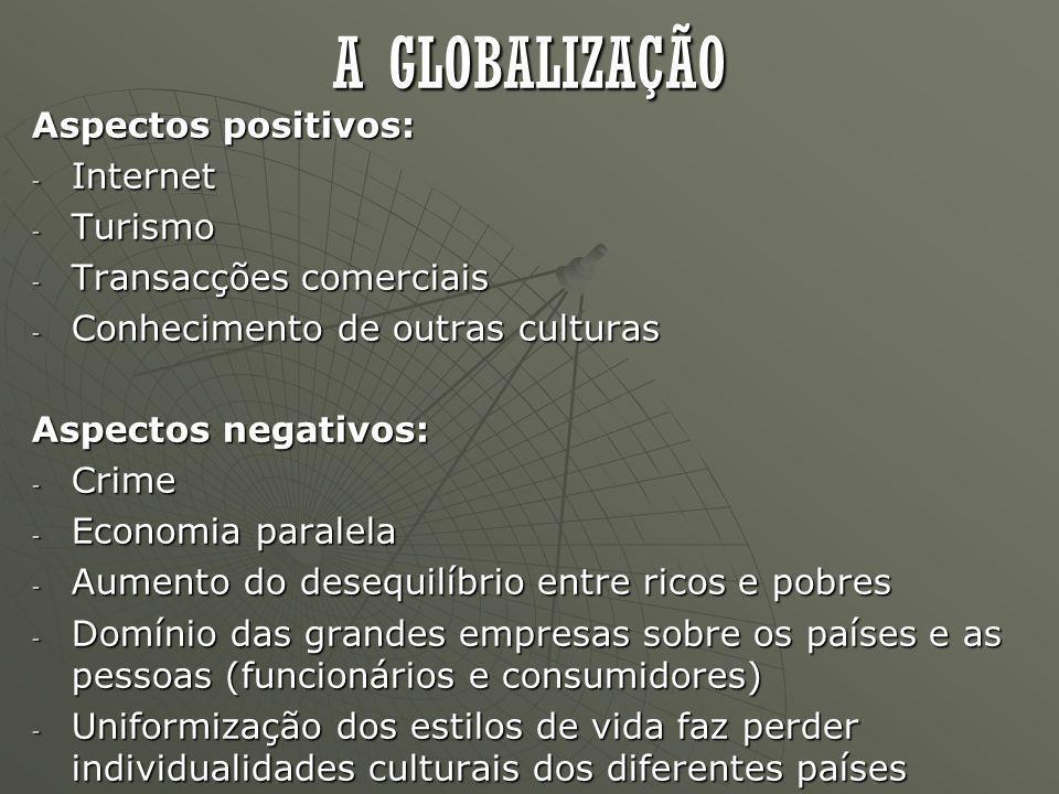 A GLOBALIZAÇÃO Aspectos positivos: Internet Turismo