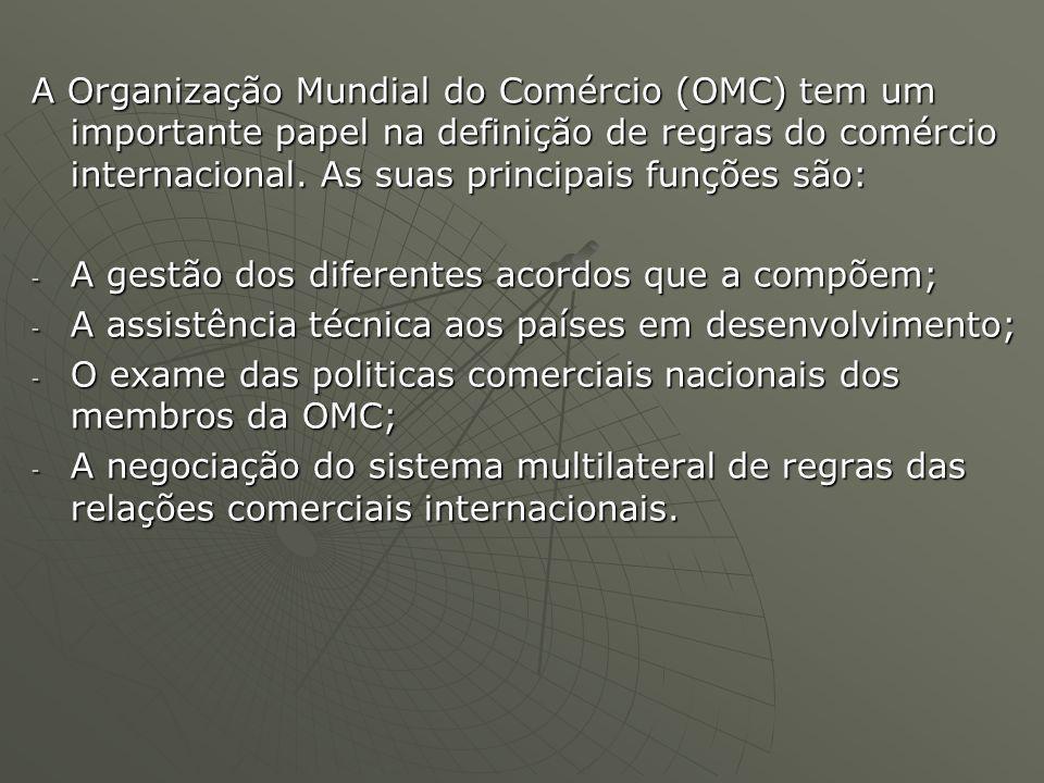A Organização Mundial do Comércio (OMC) tem um importante papel na definição de regras do comércio internacional. As suas principais funções são: