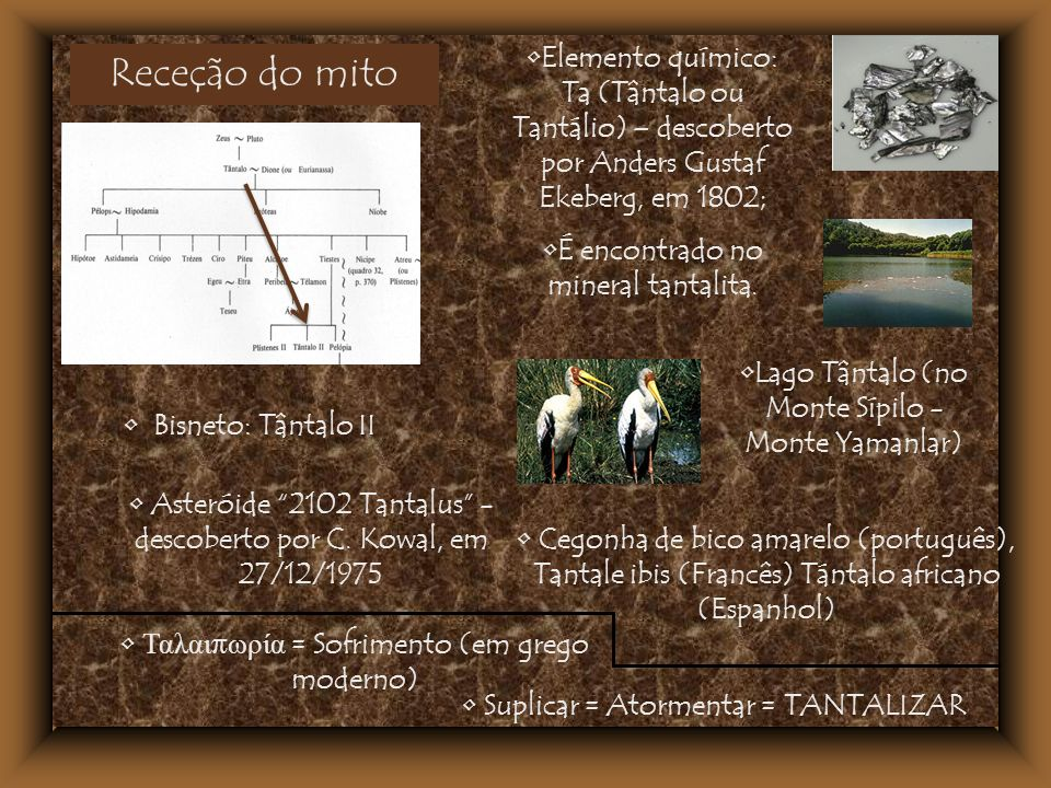 Elemento químico: Ta (Tântalo ou Tantálio) – descoberto por Anders Gustaf Ekeberg, em 1802;