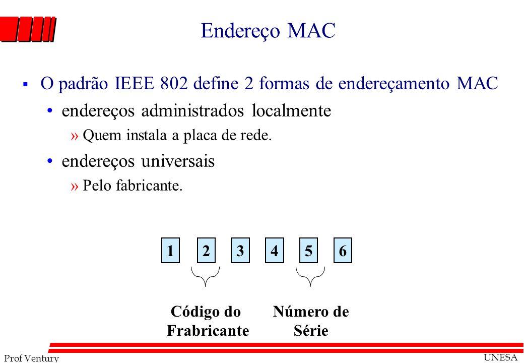 Endereço MAC O padrão IEEE 802 define 2 formas de endereçamento MAC