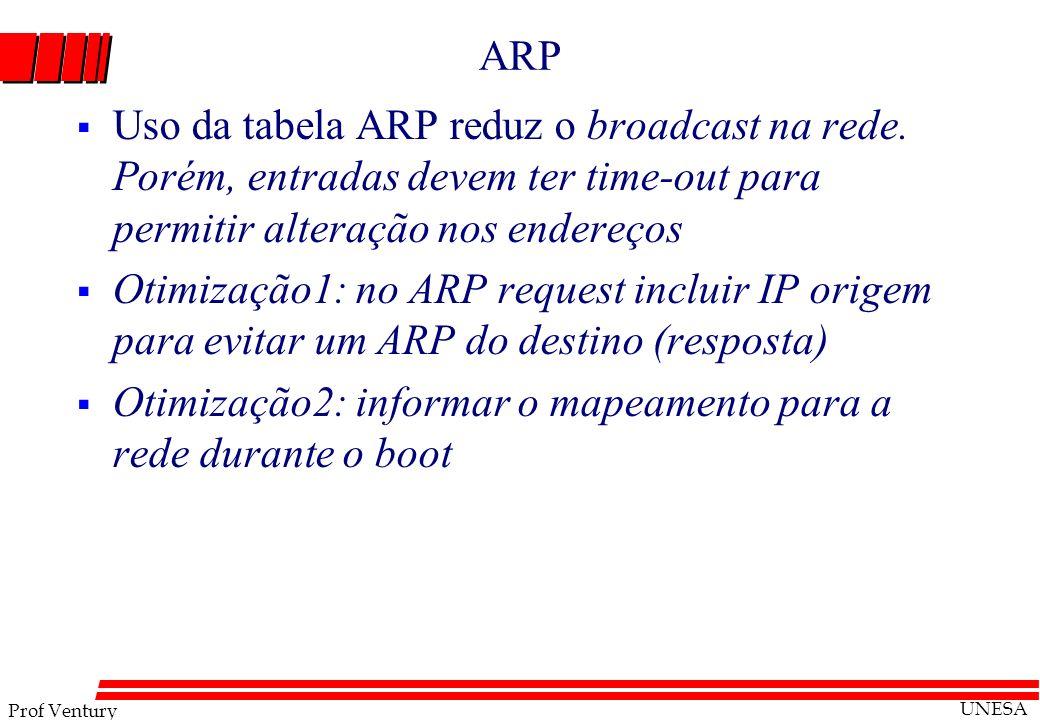 ARP Uso da tabela ARP reduz o broadcast na rede. Porém, entradas devem ter time-out para permitir alteração nos endereços.