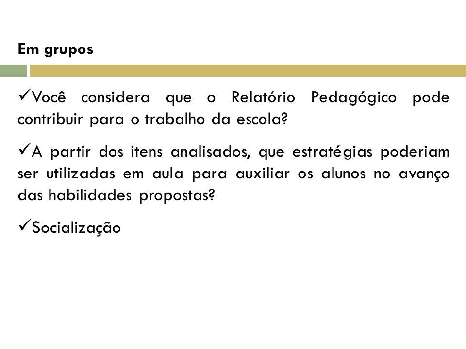 Em grupos Você considera que o Relatório Pedagógico pode contribuir para o trabalho da escola