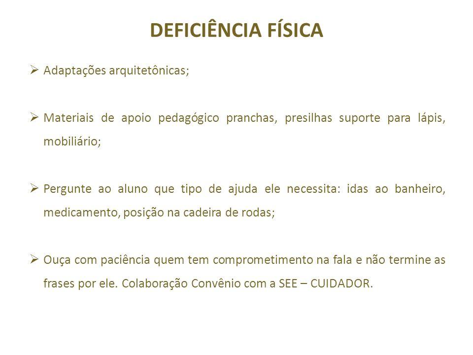 DEFICIÊNCIA FÍSICA Adaptações arquitetônicas;