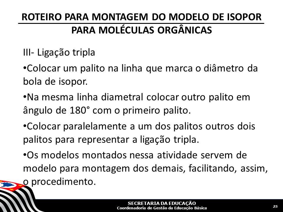 ROTEIRO PARA MONTAGEM DO MODELO DE ISOPOR PARA MOLÉCULAS ORGÂNICAS