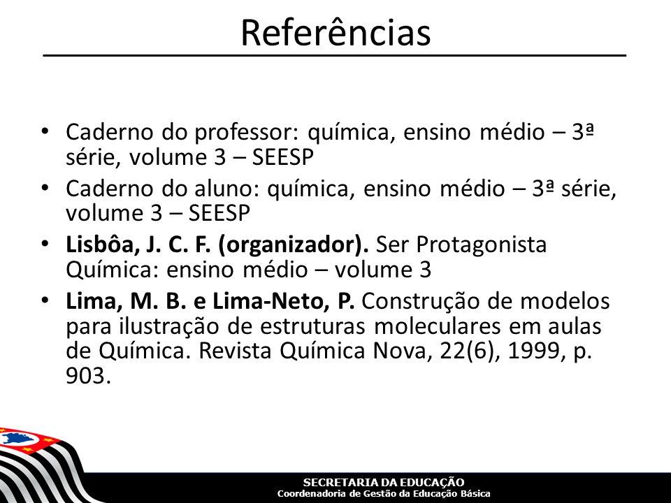 Referências Caderno do professor: química, ensino médio – 3ª série, volume 3 – SEESP.