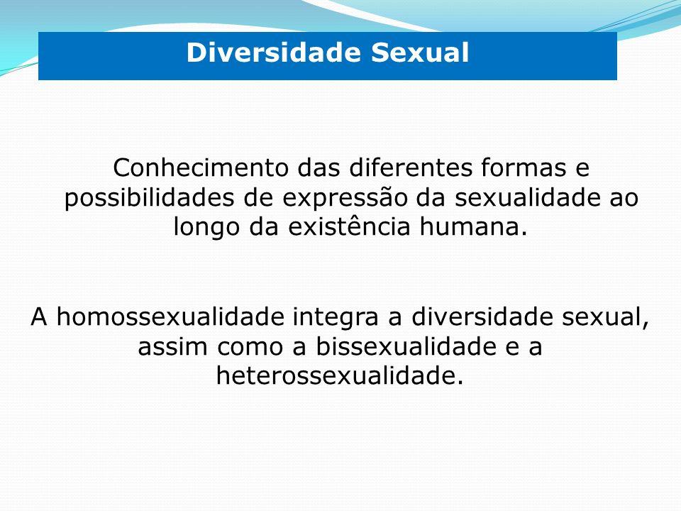 Diversidade Sexual Conhecimento das diferentes formas e possibilidades de expressão da sexualidade ao longo da existência humana.