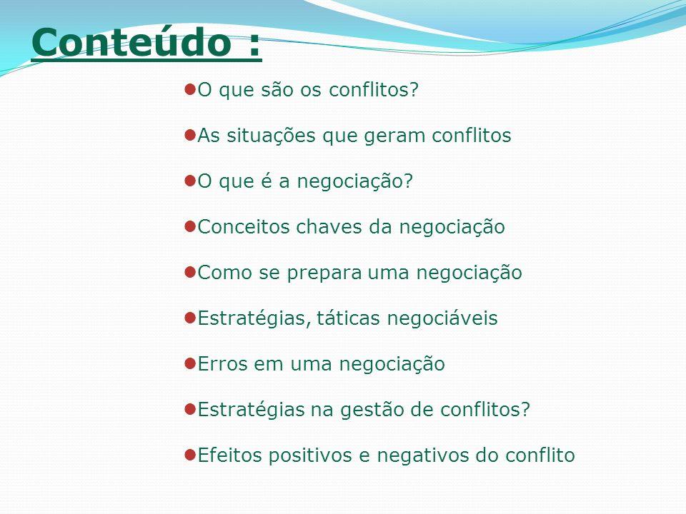 Conteúdo : O que são os conflitos As situações que geram conflitos