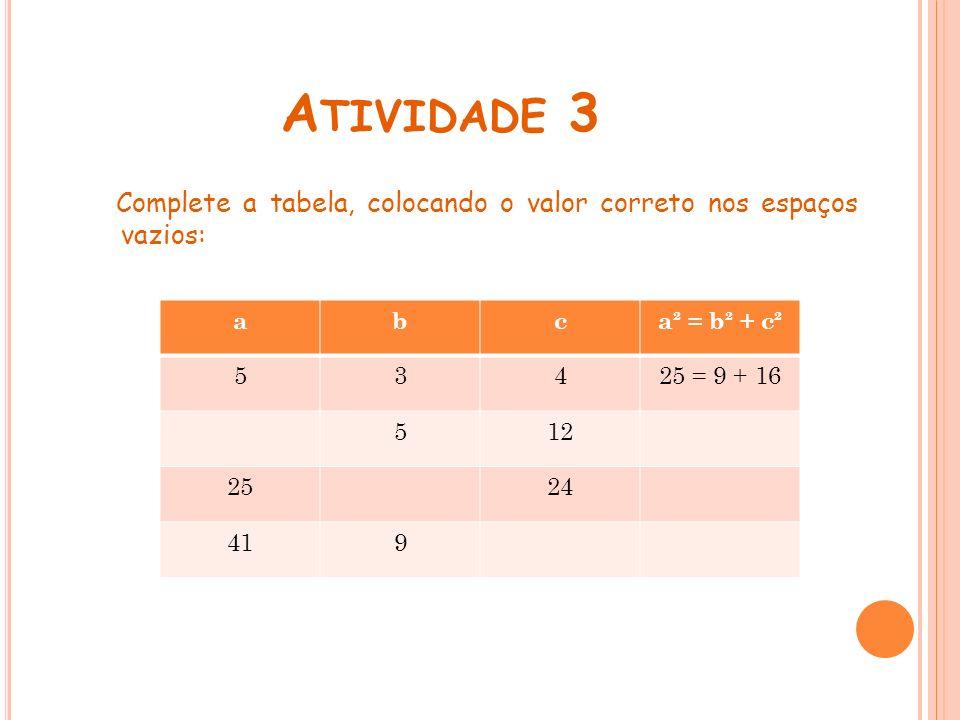 Atividade 3 Complete a tabela, colocando o valor correto nos espaços vazios: a. b. c. a² = b² + c².