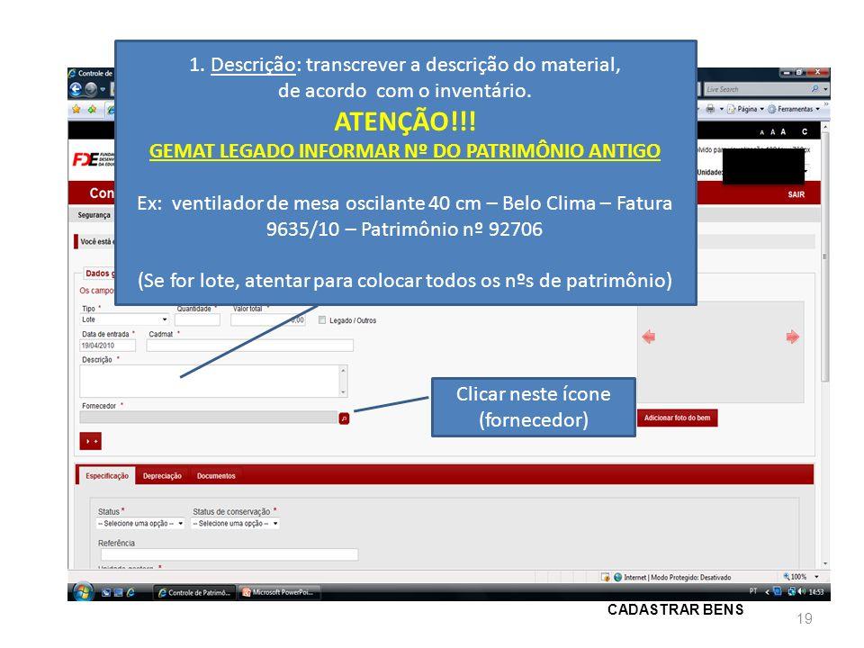 GEMAT LEGADO INFORMAR Nº DO PATRIMÔNIO ANTIGO