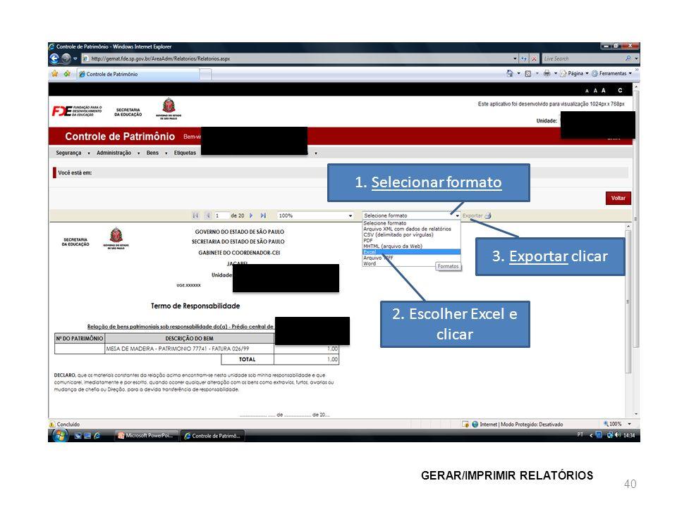2. Escolher Excel e clicar
