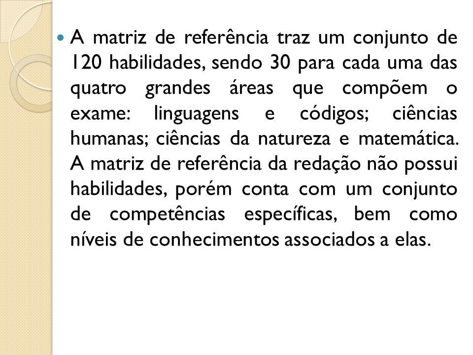 A matriz de referência traz um conjunto de 120 habilidades, sendo 30 para cada uma das quatro grandes áreas que compõem o exame: linguagens e códigos; ciências humanas; ciências da natureza e matemática.