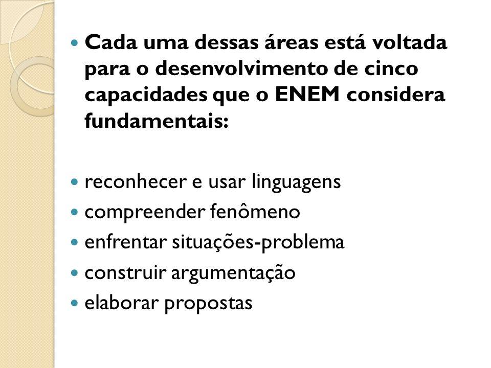 Cada uma dessas áreas está voltada para o desenvolvimento de cinco capacidades que o ENEM considera fundamentais: