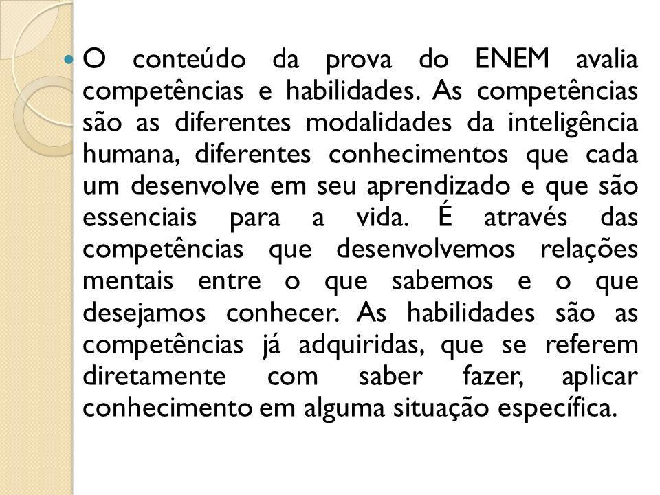 O conteúdo da prova do ENEM avalia competências e habilidades