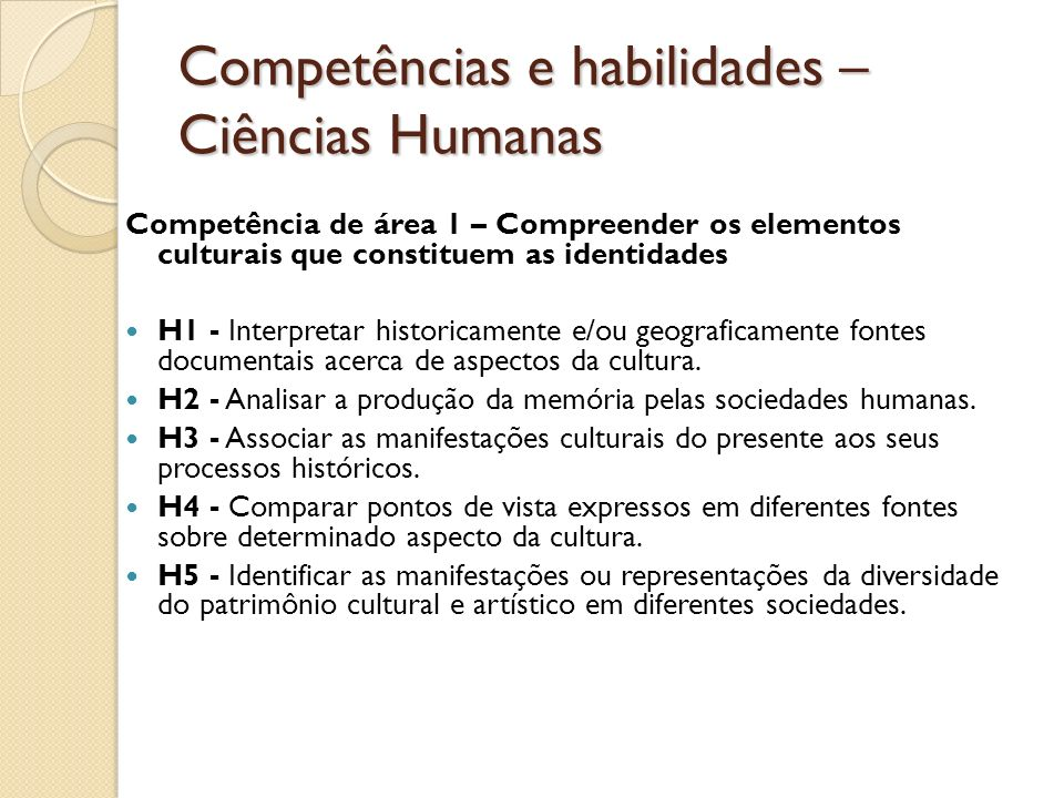 Competências e habilidades – Ciências Humanas