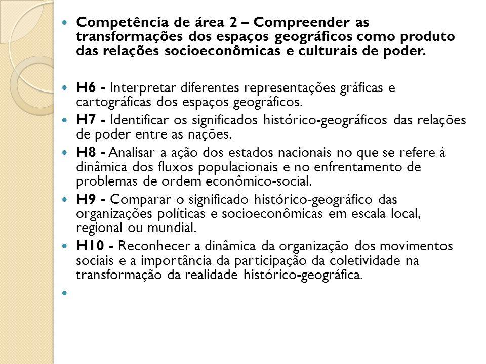 Competência de área 2 – Compreender as transformações dos espaços geográficos como produto das relações socioeconômicas e culturais de poder.