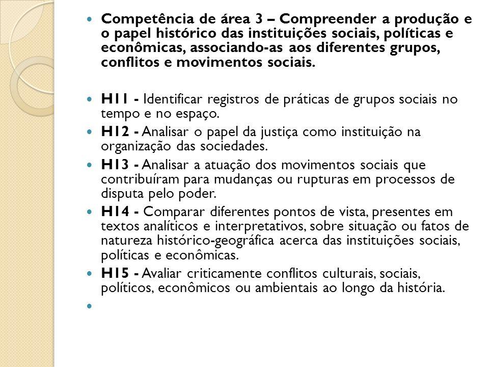 Competência de área 3 – Compreender a produção e o papel histórico das instituições sociais, políticas e econômicas, associando-as aos diferentes grupos, conflitos e movimentos sociais.