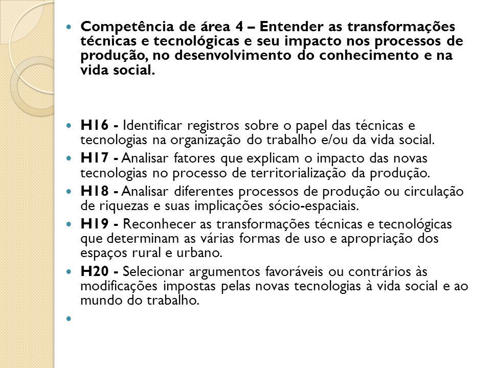 Competência de área 4 – Entender as transformações técnicas e tecnológicas e seu impacto nos processos de produção, no desenvolvimento do conhecimento e na vida social.