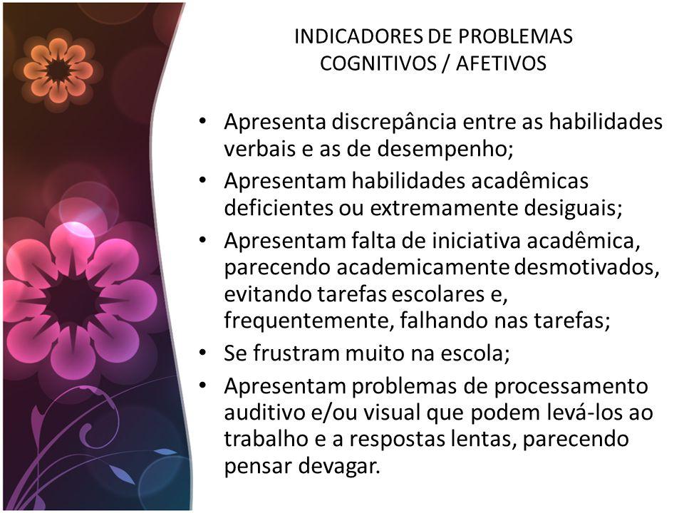 INDICADORES DE PROBLEMAS COGNITIVOS / AFETIVOS