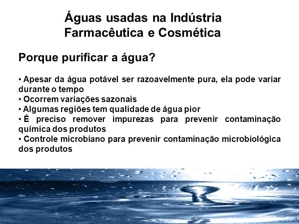 Águas usadas na Indústria Farmacêutica e Cosmética