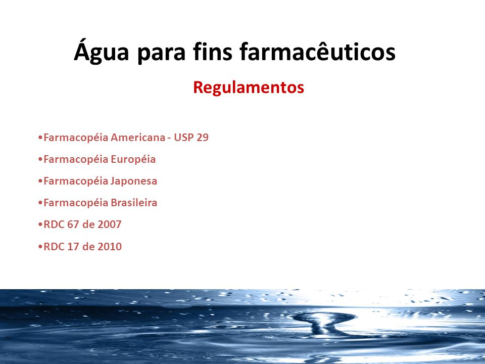 Água para fins farmacêuticos
