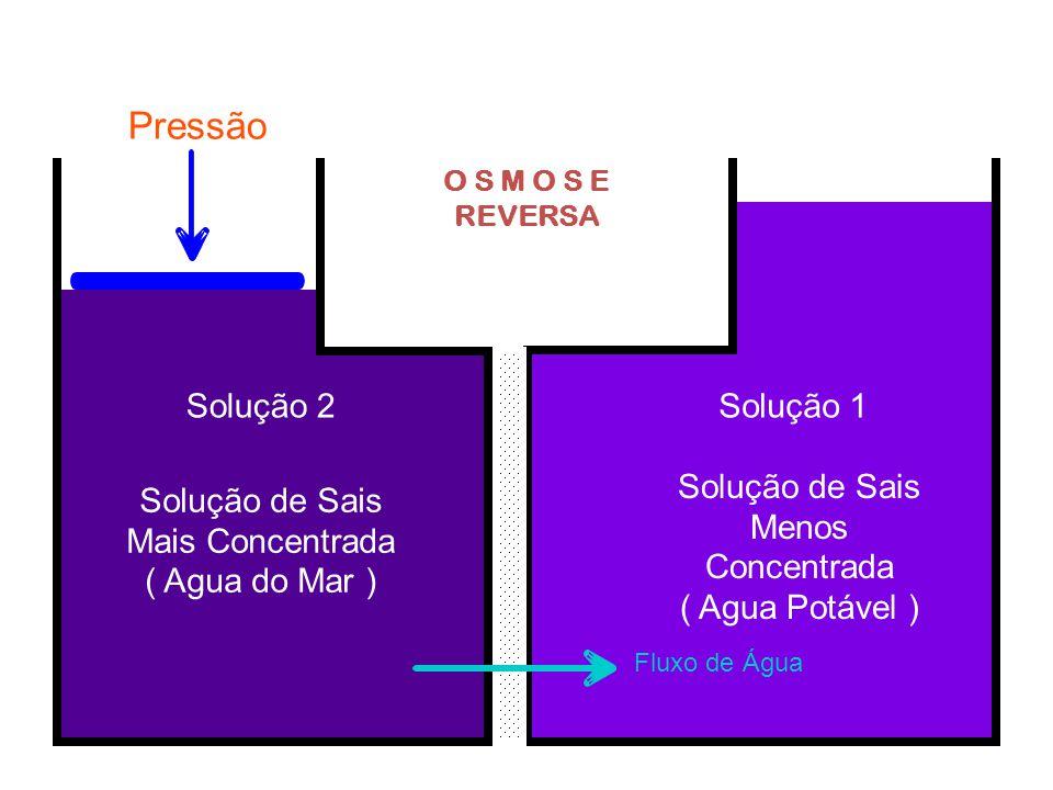 Pressão Solução 2 Solução 1 Solução de Sais Menos Concentrada