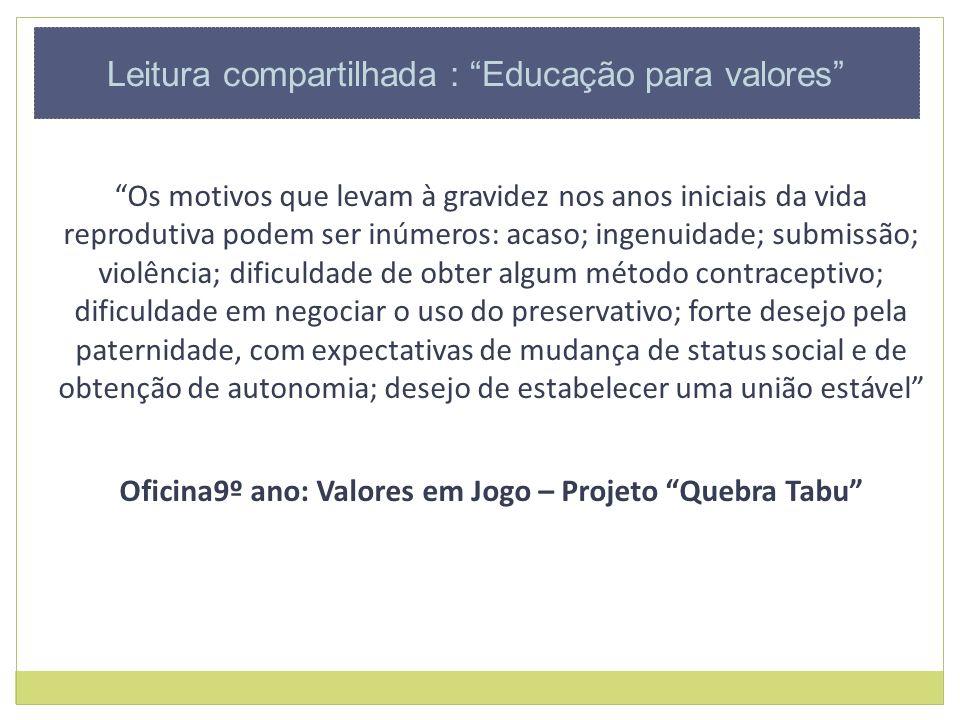 Oficina9º ano: Valores em Jogo – Projeto Quebra Tabu