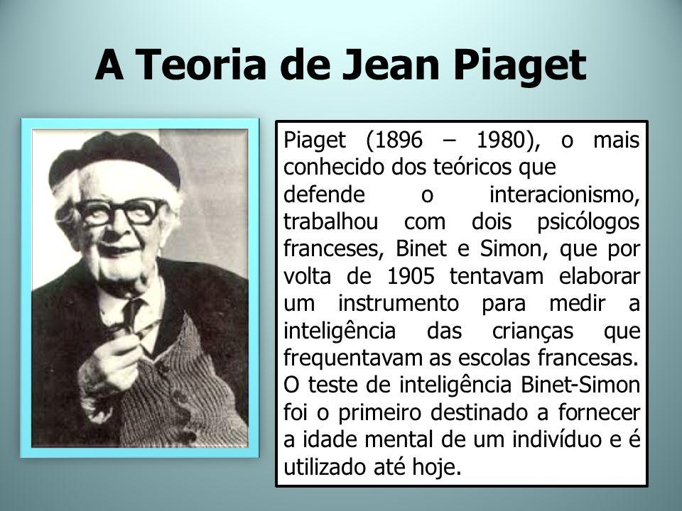 A Teoria de Jean Piaget Piaget (1896 – 1980), o mais conhecido dos teóricos que.