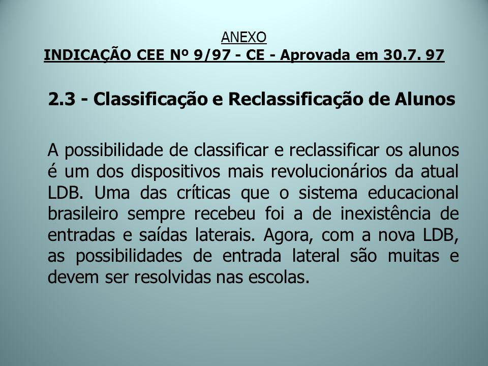 ANEXO INDICAÇÃO CEE Nº 9/97 - CE - Aprovada em 30.7. 97