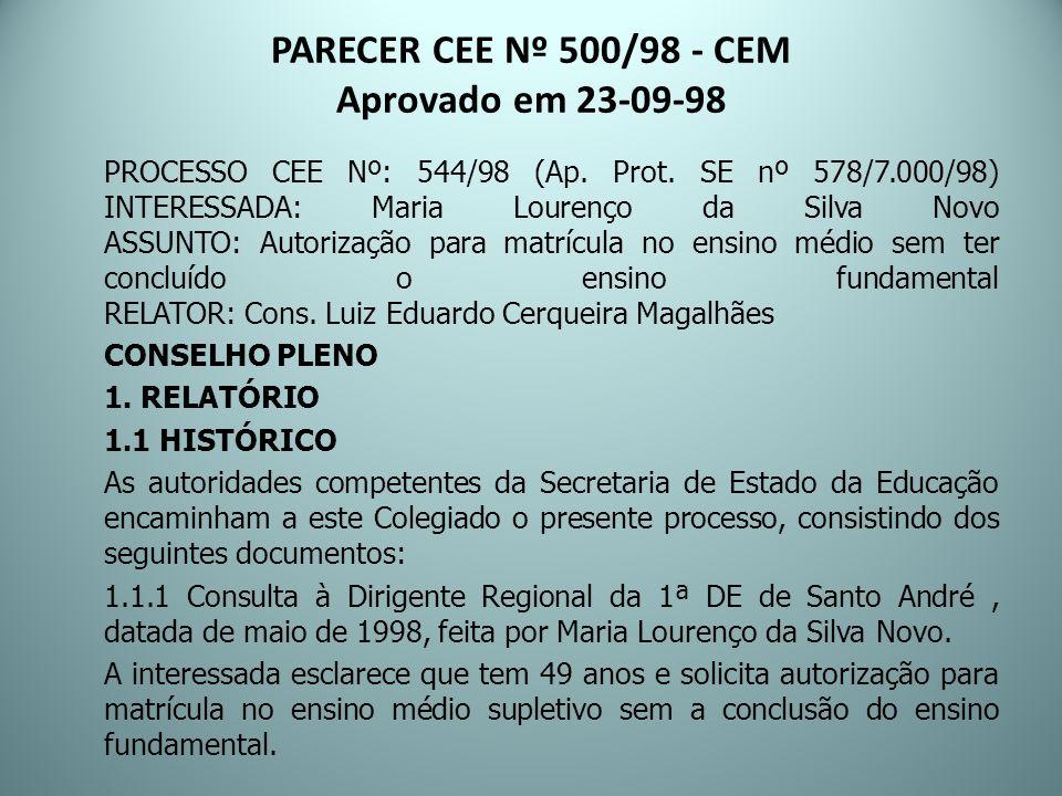PARECER CEE Nº 500/98 - CEM Aprovado em 23-09-98