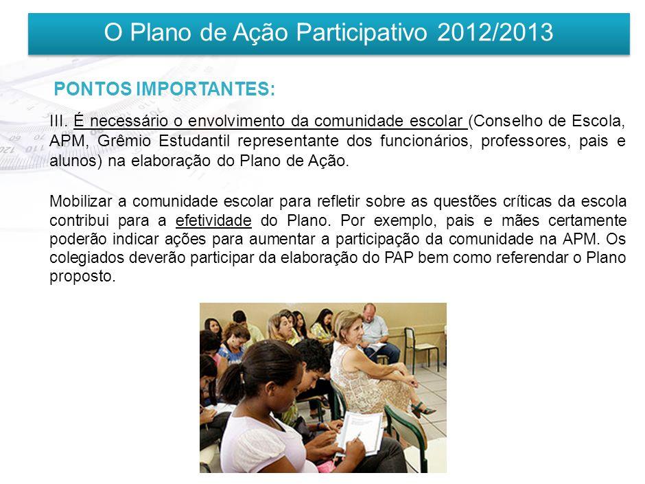 O Plano de Ação Participativo 2012/2013