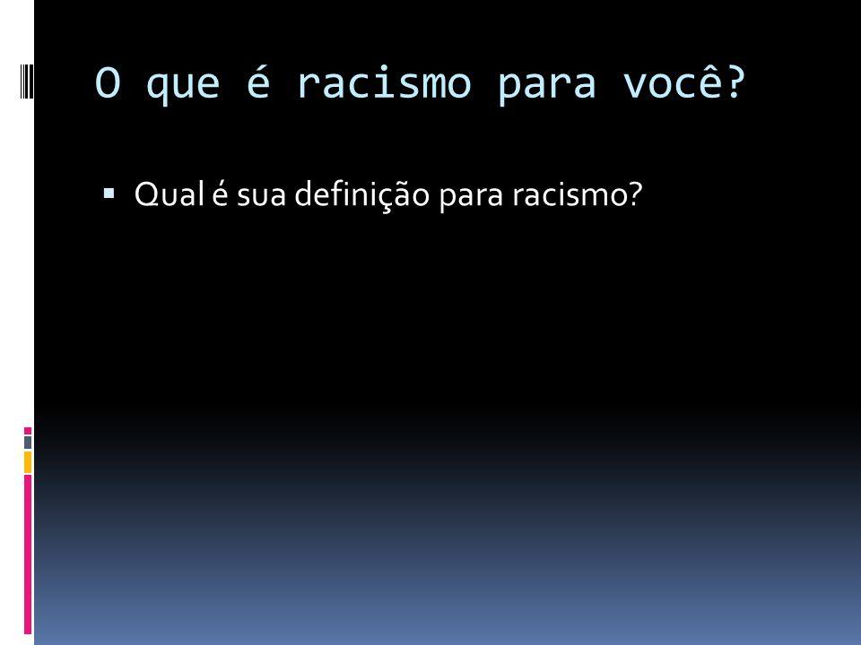 O que é racismo para você
