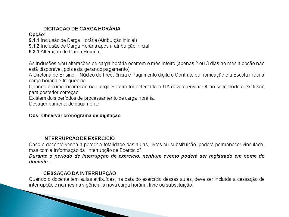 DIGITAÇÃO DE CARGA HORÁRIA
