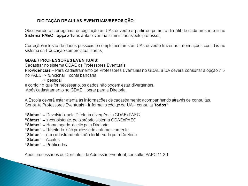DIGITAÇÃO DE AULAS EVENTUAIS/REPOSIÇÃO: