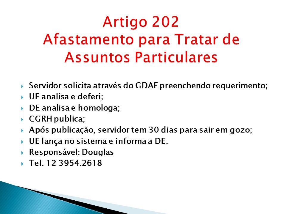 Artigo 202 Afastamento para Tratar de Assuntos Particulares