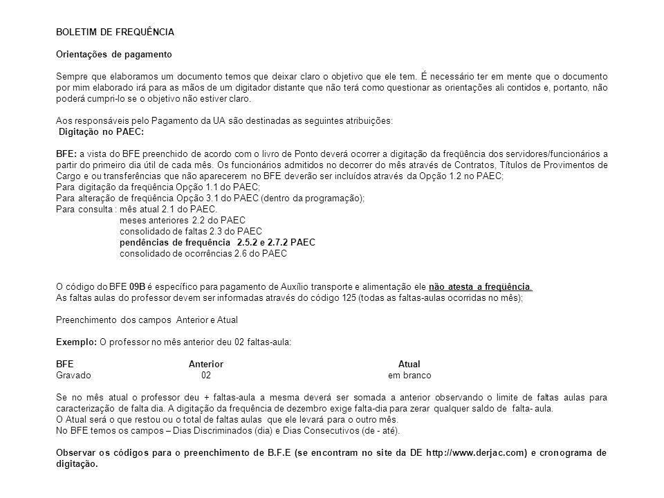 BOLETIM DE FREQUÊNCIA Orientações de pagamento.
