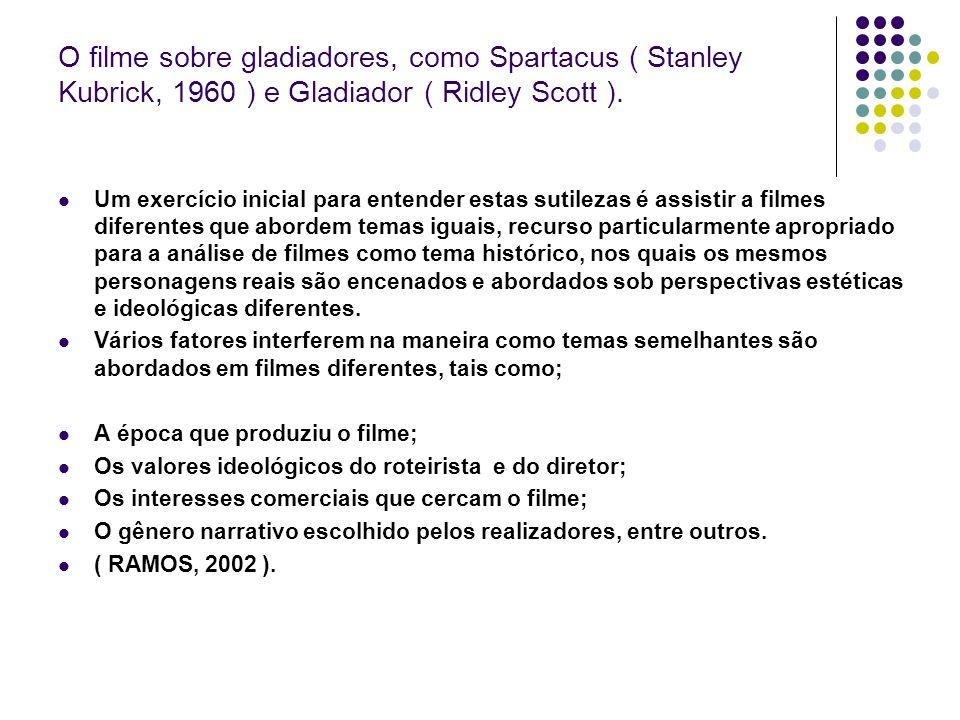 O filme sobre gladiadores, como Spartacus ( Stanley Kubrick, 1960 ) e Gladiador ( Ridley Scott ).