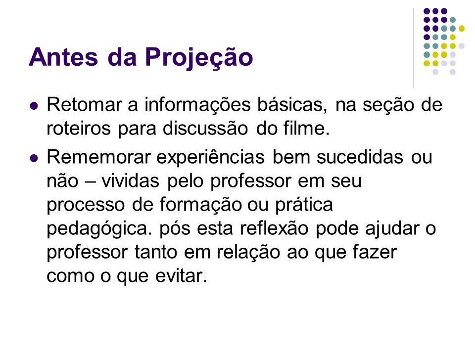 Antes da Projeção Retomar a informações básicas, na seção de roteiros para discussão do filme.