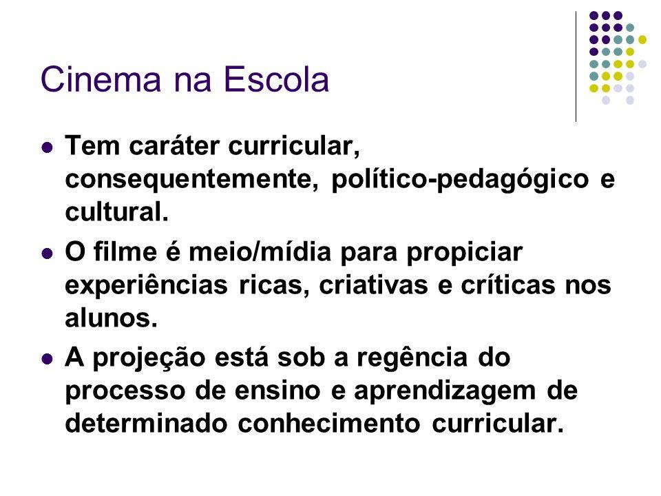 Cinema na Escola Tem caráter curricular, consequentemente, político-pedagógico e cultural.
