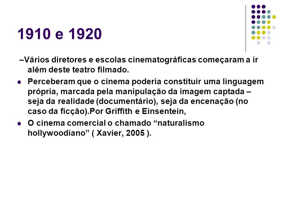 1910 e 1920 –Vários diretores e escolas cinematográficas começaram a ir além deste teatro filmado.