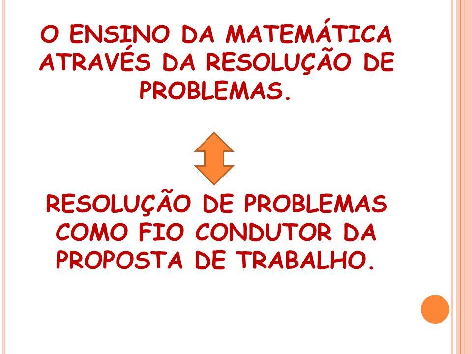 O ENSINO DA MATEMÁTICA ATRAVÉS DA RESOLUÇÃO DE PROBLEMAS