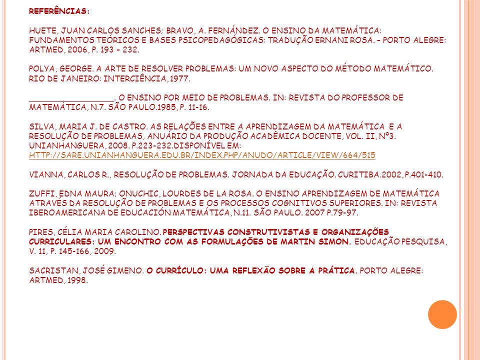 REFERÊNCIAS: HUETE, JUAN CARLOS SANCHES; BRAVO, A. FERNÁNDEZ