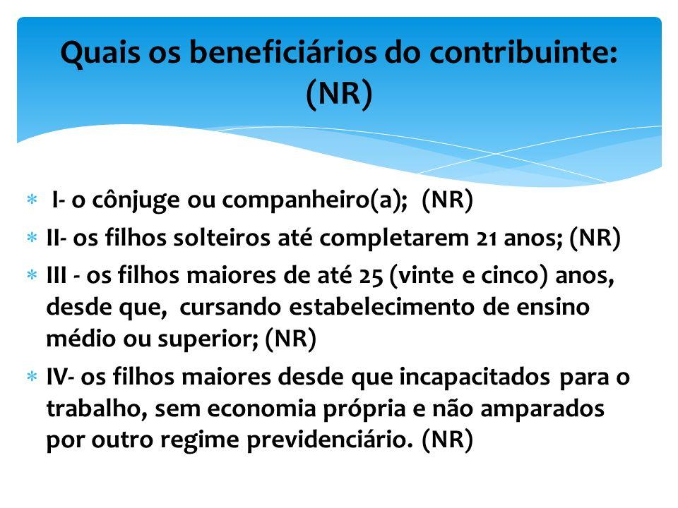 Quais os beneficiários do contribuinte: (NR)