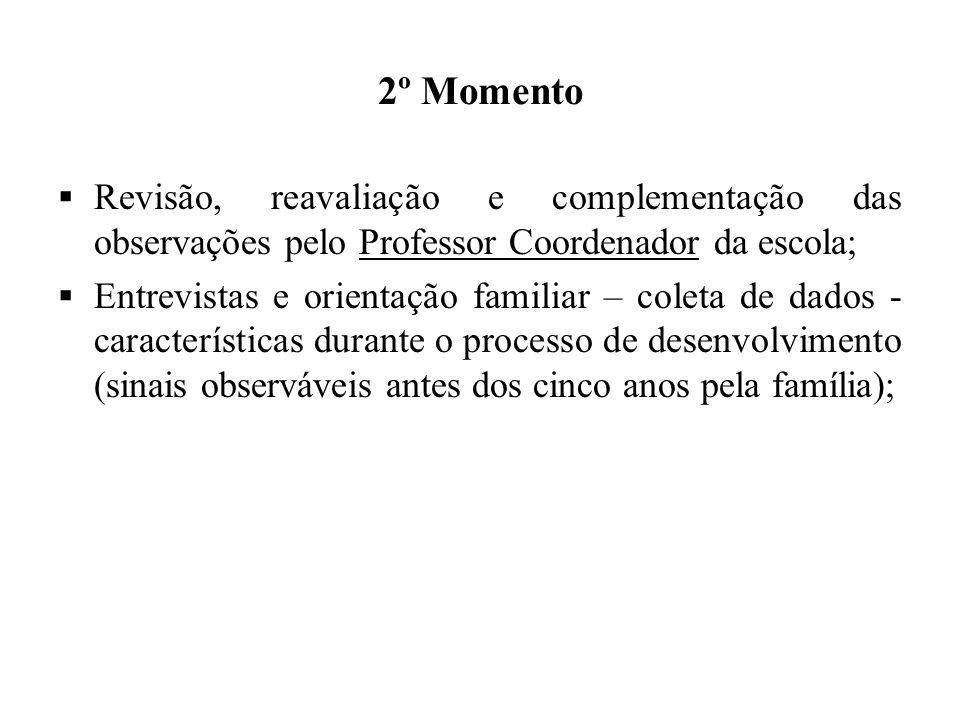2º Momento Revisão, reavaliação e complementação das observações pelo Professor Coordenador da escola;